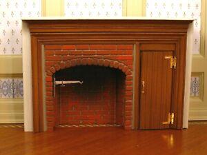 Braxton Payne Vintage 1:12 Miniature Dollhouse Colonial Fireplace w/ Wood Door