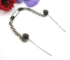 """FUR PIN SET Chatelaine Hat Pin Style Vintage Brooch Pin Black GLASS Beads 8"""""""