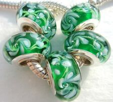 5PCS silver hallmarked Single Core Murano Glass Beads fit Charms Bracelet AOC074