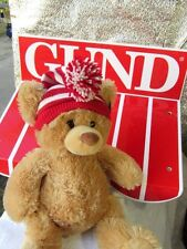 2002  GOTTA GETTA GUND  Beige Brown BEAR w/ Red Striped Hat Toque Pom Plush  NWT