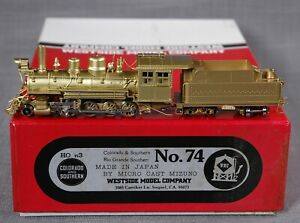 Westside HOn3 Brass C&S/RGS 2-8-0 STEAM LOCOMOTIVE, TENDER #74 Unused in Box