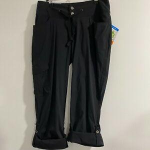 NWT Columbia City Slickerz Roll Up Convertible Pants Womens 8 Black Nylon Elast