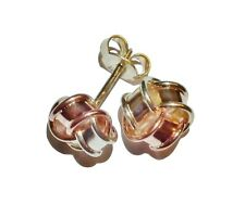 Vintage 9ct 3 Colour Gold Knot Stud Earrings