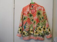 Tommy Bahama Silk Women's  Jacket  Size Medium. Button Up Lined Peach Floral