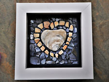 shell pieces HEART MOSAIC handmade WHITE FRAMED valentine's day IDEAL GIFT love