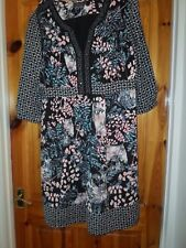 Ladies PER UNA Black Multi Floral dress 3/4 sleeves - UK14 Used