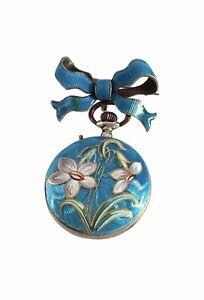 Victorian Period Blue Enamel Silver Fob / Brooch Watch