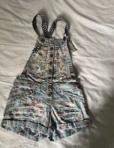 River Island Floral Dungaree Shorts Size 6