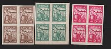 LATVIA MI 25-27 X ,MNH BLOCKS OF 4