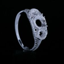 Mount Style Three Stone Silver 925 Fine Jewelry New, Vintage Antique Ring Semi