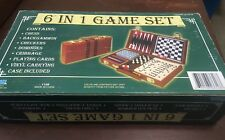 6 IN 1 GAME SET CHESS CHECKER BACKGAMMON CRIBBAGE DOMINOES CARDS TRAVEL SET