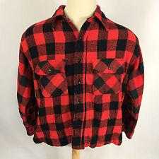 Vintage Red Buffallo Plaid Flannel Lumberjack Wool Blend Distressed Work Shirt