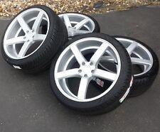 "20"" Silver Mustang Downforce DF5 Wheels Tires 20x8.5 20x10 5x114.3 Rims 05-17"
