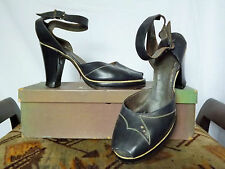 Leather Heels 1940s Vintage Shoes for Women