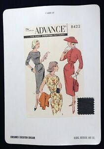 Vtg 1950s Sears Store Display Sewing Pattern Advertising CARD Advance 8422
