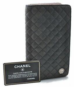 Authentic CHANEL Lamb Skin Micro Matelasse Long Wallet Black CC B8505