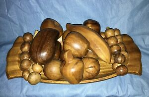 Vintage MCM Wood Monkey Pod Dish Bowl with 14 Wooden Carved Assorted Fruit