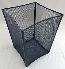 "Black Wire Mesh Wastebasket, 11.5"" x 11.5"" x 15"" EUC"