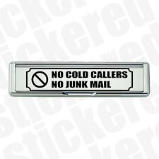 NO COLD CALLERS NO JUNK MAIL BLACK VINYL STICKER DECAL FOR LETTERBOX LETTER BOX