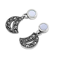 Marcasite Half Moon Stud Earrings Sterling Silver 925 Jewelry Mother of Pearl