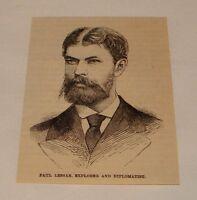 1887 small magazine engraving ~ PAUL LESSAR, Explorer + Diplomat
