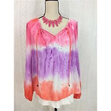 JLo Blouse Size Small Sheer Chiffon Tie-dye Multicolored Gems Long Sleeve