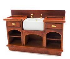 Dolls House Walnut Victorian Belfast Sink Unit 1:12 Miniature Kitchen Furniture