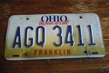 SINGLE  OHIO  license plate EXPIRED  AGQ3411