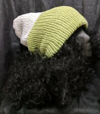Women's Green & White Slouchy Beanie Hat (HAND KNIT, REVERSIBLE, FREE SHIP/GIFT)