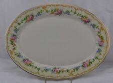 "Avondale Old Ivory Syracuse China Pink Roses Scroll Trim Platter 12"""