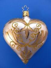 INGE GLAS CHAMPAGNE GOLD BLOWN GLASS HEART GERMAN CHRISTMAS TREE ORNAMENT