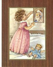 """Catholic Print Picture Little Girl Adoring Blessed Mother 7x9"""""""
