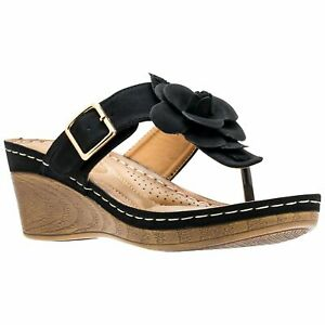 GC Shoes Women's Flora Wedge Thong Sandal Black Size 6.5