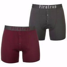 Mens Branded Firetrap 2 Pack Comfortable Correct Boxers Underwear Size S-xxxl Grey / Wine Small