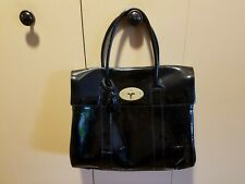 PATENT LEATHER BLACK PAD SATCHEL HAND SHOULDER BAG MADE IN ENGLAND BY MULBERRY