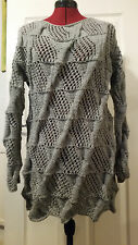 Handmade Cable Knitted Grey Long Jumper Ladies Womans Size M