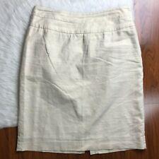 Banana Republic Womens Size 8 Linen Blend Lined Pencil Skirt Beige Side Zip