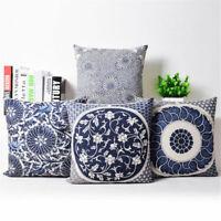 """18"""" Blue and White Porcelain Cotton Linen Pillow Case Cushion Cover Home Decor"""