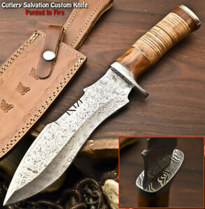 Cutlery Salvation Handmade Damascus Steel Blade Hunting Bowie Knife   STACKED
