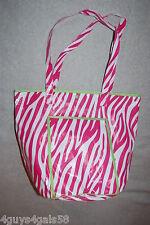 Tote Bag BEACH Pink White ZEBRA STRIPE Round Bottom VINYL LINED Green Accents