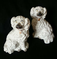 VICTORIAN MATCHING PAIR ANTIQUE POTTERY STAFFORDSHIRE SPANIELS WALLY DOGS c.1860