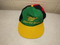 VTG Miller Genuine Draft Jamaica Black Green Yellow Red Snapback Cap Hat Perfect