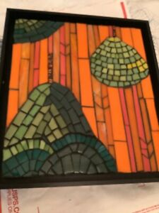 """Handmade and Framed Stained Glass Mosaic Picture by Caren Zane Fishman 10"""" x 11"""""""