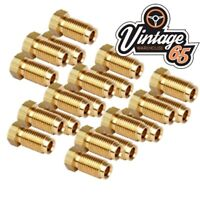 """20 Brass Imperial Brake Pipe Fittings 3/8"""" UNF x 24 Tpi Male Long For 3/16"""" Pipe"""