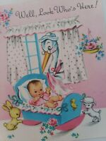 Vtg 1950s BABY Cradle STORK Peek Window LOOK WHO'S HERE CONGRATS GREETING CARD