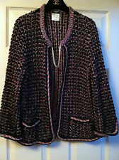 CHANEL 12P NEW Crochet Boucle Tweed Black MULTICOLOR  Jacket Silver Chain FR42