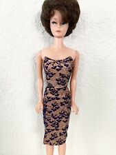 New ListingRare Htf Vintage Barbie Navy & Gold Lame Sheath Dress 1963 Tagged Mattel No Doll