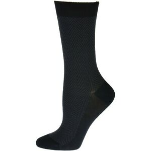 Bamboo Herringbone Dress Casual Crew Socks, Men's Black Bamboo Socks, Odor Free