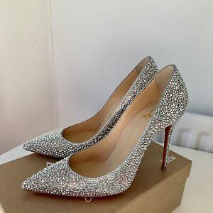 Christian Louboutin Decollete 554 100mm Crystal Strass Beautiful Bridal Shoe UK6