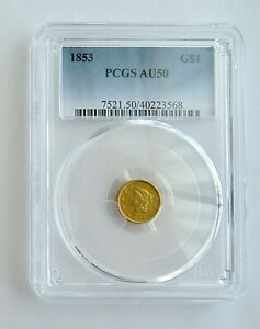 1853 GOLD $1 Liberty Head Coin~~Graded AU 50 by PCGS